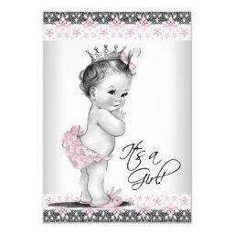 Vintage Pink And Gray Baby Girl Shower Invitations