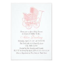 Vintage Pink Baby Carriage Baby Shower
