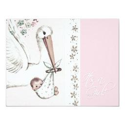 Vintage Pink Stork Baby Girl Shower