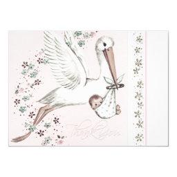 Vintage Pink Stork Baby Shower Thank You
