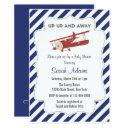 Vintage Plane Baby Shower Invitations Red And Blue