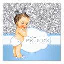 Vintage Prince Baby Shower Blue And Silver Invitations