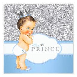 Vintage Prince Baby Shower Blue and Silver
