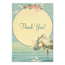 Vintage Stork Blue Boy Baby Shower Thank You