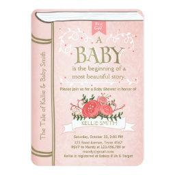 Vintage Storybook Baby Shower Invitation Pink Gold