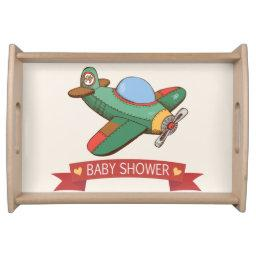 Vintage Toy Airplane Baby Shower Serving Tray