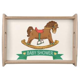 Vintage Toy Rocking Horse Baby Shower Serving Tray