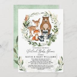 Virtual Baby Shower | Greenery Woodland Animals Invitation