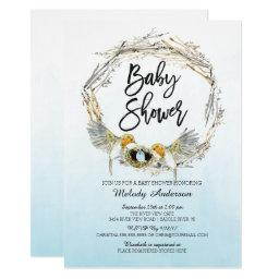 Watercolor Bird Nest Boys Baby Shower Invite