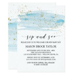 Watercolor Blue & Gold Sparkle Sip and See