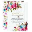 Watercolor Boho Chic Floral Baby Shower Invitation