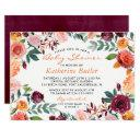 Watercolor Burgundy Orange Pink Floral Baby Shower Invitations