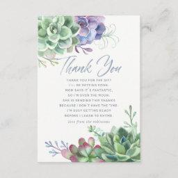 Watercolor Cactus Succulents Baby Shower Thank You