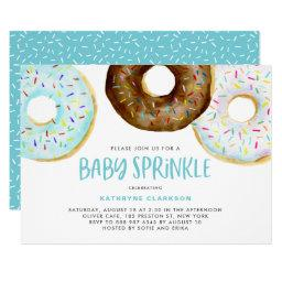 Watercolor Donuts It's A Boy Baby Sprinkle Shower Invitation