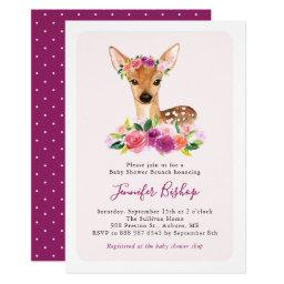 Watercolor Fawn Floral Pink Baby Shower Brunch