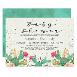 Watercolor Floral Cactus Baby Shower