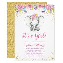 Watercolor Floral Elephant Baby Shower