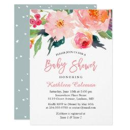 Modern baby shower invitations babyshowerinvitations4u watercolor floral modern classy baby shower filmwisefo