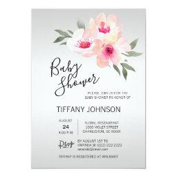 Watercolor Floral Pink Grey Flowers Baby Shower