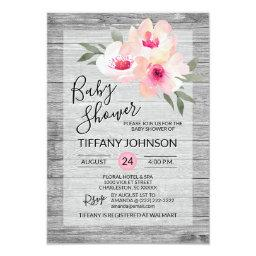 Watercolor Floral Pink Grey Rustic Baby Shower