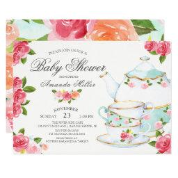 Watercolor Floral Tea Baby Shower Invitation