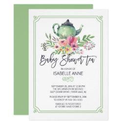 Watercolor Floral Tea Party Neutral Baby Shower