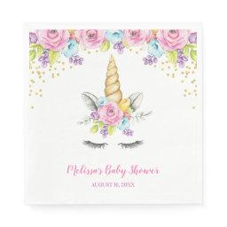 Watercolor Floral Unicorn Baby Shower Paper Napkin