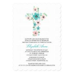 Watercolor Flower Cross First Holy Communion