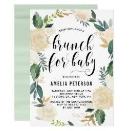 Watercolor Flowers With Glitter Baby Shower Brunch Invitations