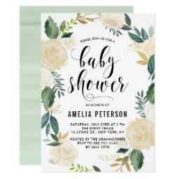 Watercolor Flowers with Gold Glitter Baby Showers