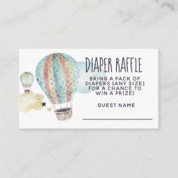 Watercolor Hot Air Balloon Party In Blue Enclosure Card
