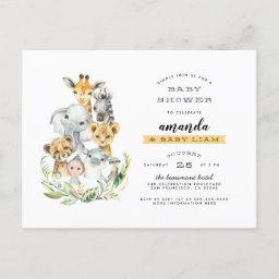 Watercolor Jungle Animals Orange Baby Shower Invitation Postinvitations