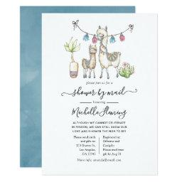 Watercolor Llama Themed Baby Shower By Mail Invitation
