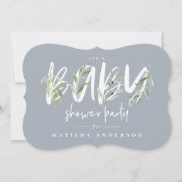 Watercolor Olive Branch Foliage Baby Shower Party Announcement