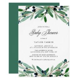 Watercolor Olives And Greenery Baby Shower Invitation