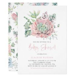 Watercolor Pastel Succulents Baby Shower Invitation