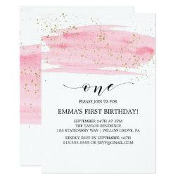 Watercolor Pink Blush & Gold Sparkle 1st Birthday