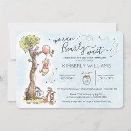 Watercolor Pooh | We Can Bearly Wait Baby Shower I Invitation