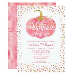Watercolor Pumpkin Glitter Fall Girl Baby Shower
