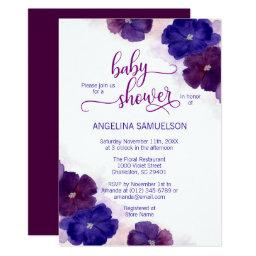 Watercolor Purple Plum Blue Floral Baby Shower Invitation