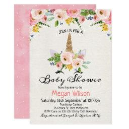 Watercolor Roses Unicorn Baby Shower