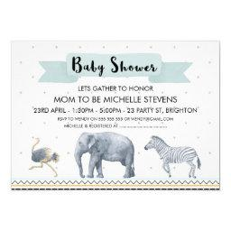 Watercolor Safari Animals Baby Shower