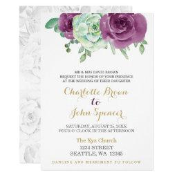watercolor succulent plum roses wedding