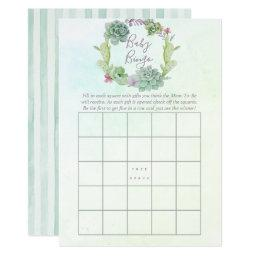 Watercolor Succulents Baby Shower Baby Bingo