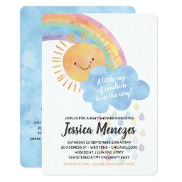 Watercolor Sunshine And Rainbow Baby Shower Invitation