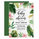 Watercolor Tropical Floral Frame Coed Baby Shower Invitation