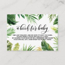 Watercolor Tropical Leaves Frame Baby Book Request Enclosure