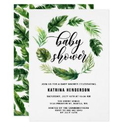 Watercolor Tropical Leaves Wreath