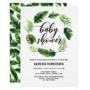 Watercolor Tropical Leaves Wreath Baby Shower Invitation