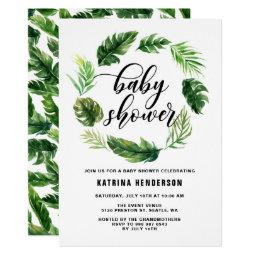 Watercolor Tropical Leaves Wreath Baby Shower Invitations